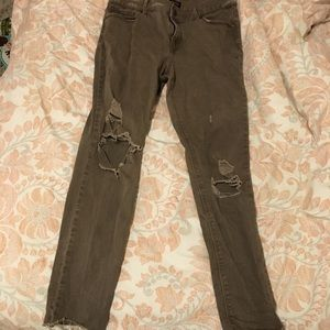 Express Distressed Legging Jeans Brown/Green wash